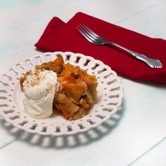 Persimmon Skillet Cake with creme fraiche