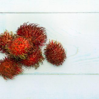 A pile of rambutans