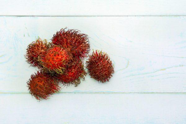 A pile of rambutans