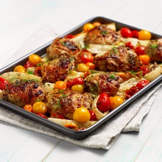 One sheet chicken pan with fennel and tomato in a honey apricot dressing