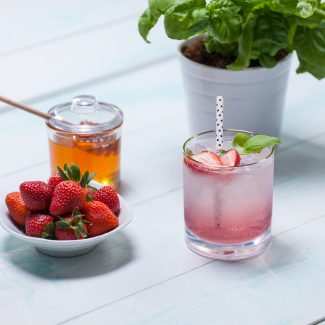 Granville Island Spring Fling Cocktail with Gin, strawberries, tea and basil